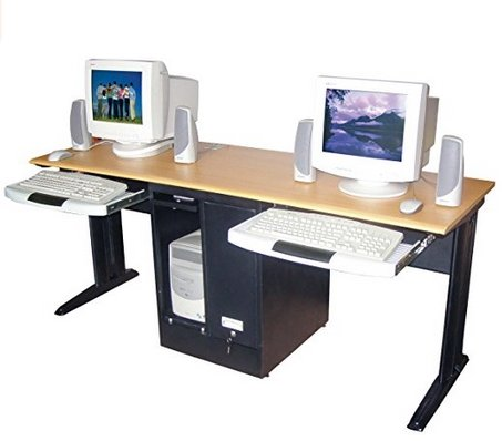 Dmd two person computer desk pullout keyboard computer deskz Desk for two persons