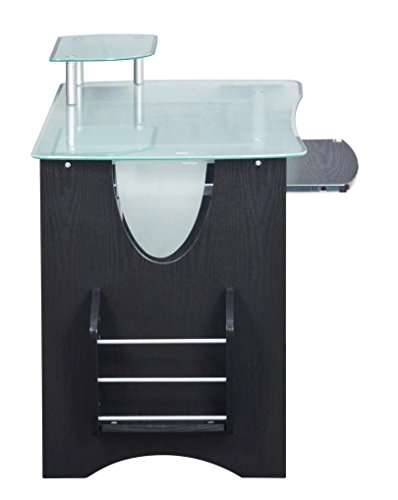 even though it sounds a bit this one has a magazine rack on this side of it you can also place other important things there if you want to - Glass Top Computer Desk